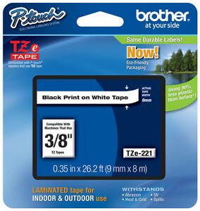 "Brother 3/8"" (9mm) Black on White P-touch Tape for PT530, PT-530 Label Maker"