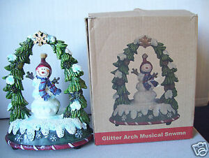 Glitter-Arch-Musical-Snwmn-Snow-Man-6-034-Tall-Figurine-Good-Condition