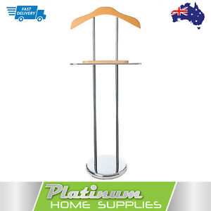Valet-Clothes-Stand-Jacket-Timber-Hanger-Coat-Mens-Suit-Trousers-Storage-Shelf