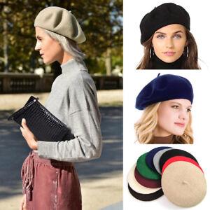 4792ff1234c1b Trendy Women Solid Wool Beret French Artist Warm Beanie Hat Winter ...