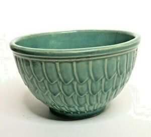 Vintage-McCoy-Pottery-greenish-blue-fish-scale-bowl-mixing-bowl-6-in-x-3-1-2-in