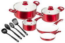 12 Pc Ceramic Coated Red Cookware Set w/ Glass Lids & Utensils - Pots & Pans