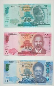 New:Malawi Banknotes Set of 50, 100, 200 Kwacha (2020) series  P-new  all UNC