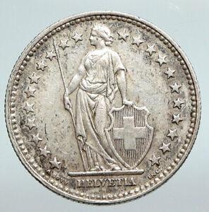 1940 SWITZERLAND -  HELVETIA Symbolizes SWISS Nation SILVER 2 Francs Coin i90736