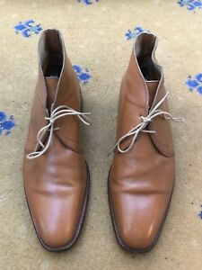 John-Lobb-Mens-Shoes-Tan-Brown-Leather-Lace-Up-boot-UK-6-5-US-7-5-EU-40-5-Romsey