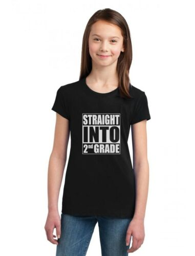 Straight Into 2nd Grade Funny Back To School Gift Girls/' Fitted Kids T-Shirt