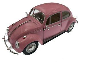 7-034-Kinsmart-VW-1967-Volkswagen-Beetle-Pastel-Diecast-Model-Toy-Car-1-24-PINK