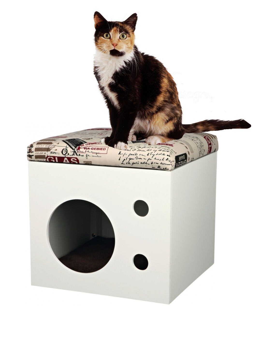 NEW TRIXIE WOODEN WHITE CAT BED BOX WITH PADDED CUSHION AND FLEECE BED 44097