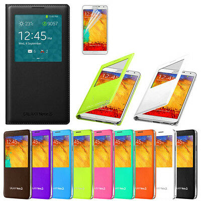 SAMSUNG GALAXY NOTE 3 III N9000 N9005 Flip S View PU Leather Smart Case Cover