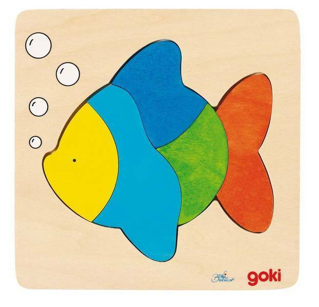 Holzpuzzle Setzpuzzle Fisch Tiere Puzzle aus Holz goki Einlegepuzzle 5 Teile