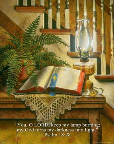 Religious Motivational Poster Print Art Jesus Bible Psalm 18:28 11x14   RELG11