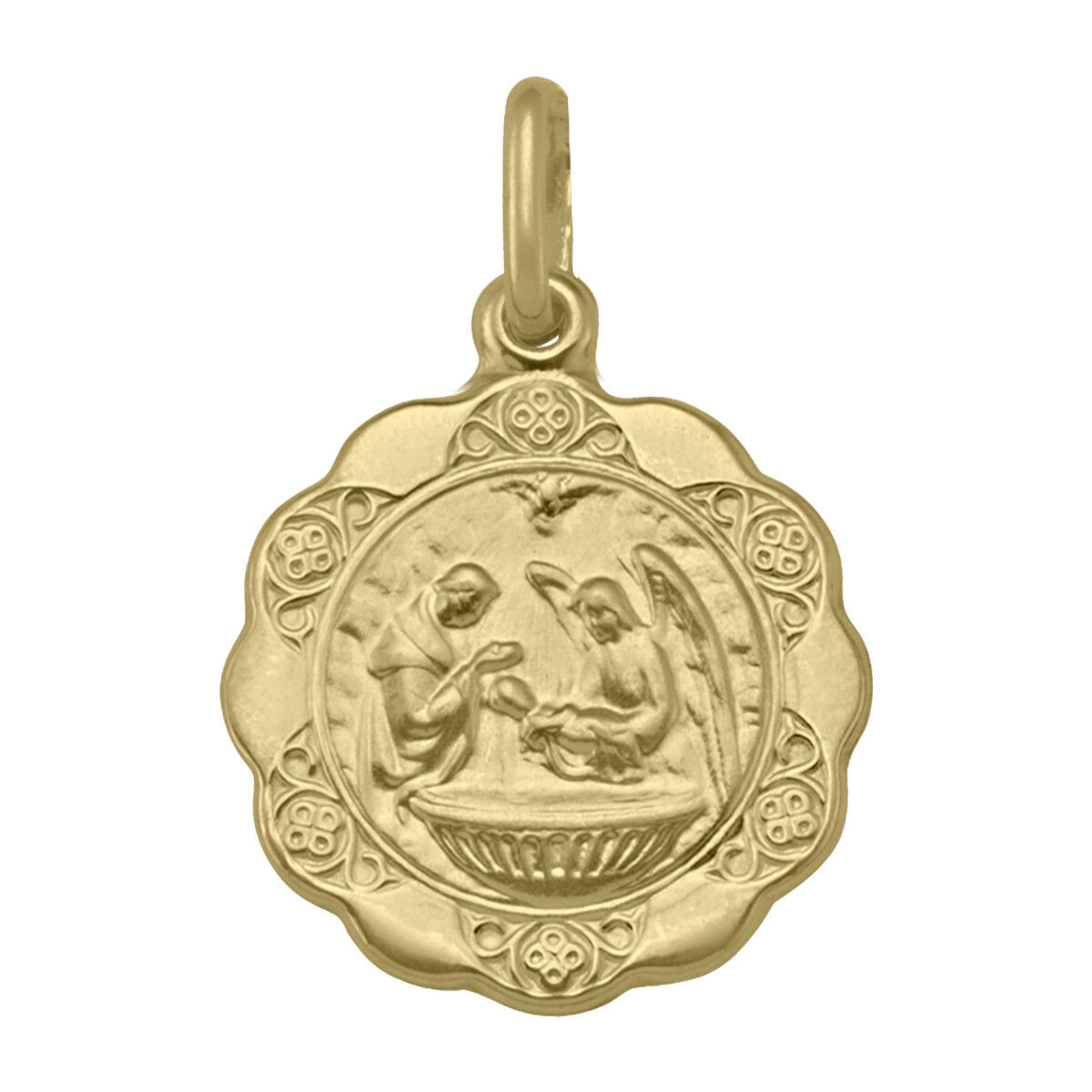 Yellow gold Round Gabriel and Mary - Baptism Pendant (new, width  1.63 cm)