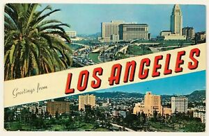 Greetings From Los Angeles California Postcard CA Multi View Banner City 1960's