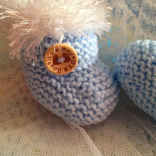 Organza Bag Newborn Baby Blue White Fluffy Fur /'It/'s a Boy/' Baby Feet Booties