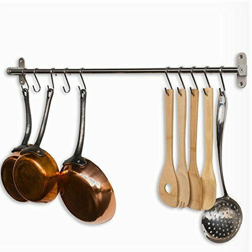 Wallniture Gourmet Kitchen Wall Mount Rail And 10 Hooks Stainless Steel Pot Pan Lid Holder Rack 31 5 Inch For Sale Online Ebay