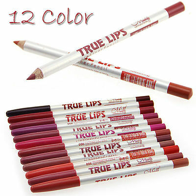 12 Colors Womens Professional Makeup Long lasting Waterproof Lip Liner Pencils