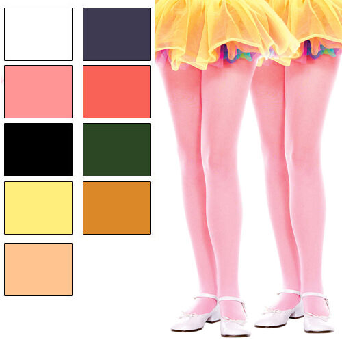 2 PAIR SET Child Kids Girls Opaque Nylon Solid Color Tights Costume Pantyhose
