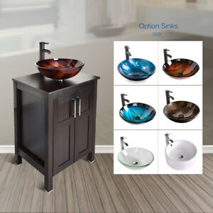24 Bathroom Vanity Floor Cabinet Single Top Vessel Sink Basin