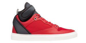Balenciaga Men's Red Navy Blue Neoprene Strap High Top Sneakers 6068 Size 44 EUR