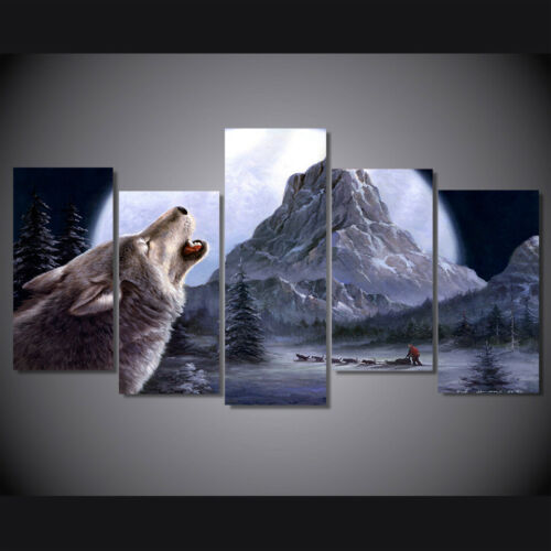Home Decor Snow Mountain Plateau Wolf Canvas Print Painting Wall Art Poster 5PCS
