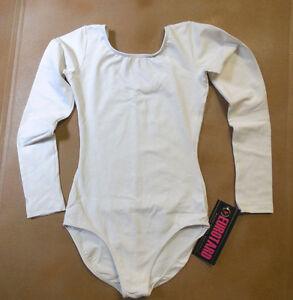 Eurotard-Microfiber-Long-Sleeve-Leotard-Style-44265-WHITE-Dance-Child-or-Ladies