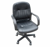 New Leather Adjustment Office Chair Mid Back Computer Task Desk Conference Black