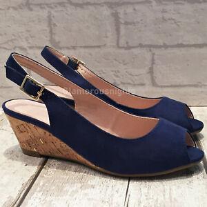 Ladies Navy Blue Medium Wedge Heel