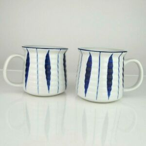 Set-of-2-Japanese-Tea-Coffee-Cup-Mug-3-5-034-H-Ceramic-Blue-White-Tokusa-Line-Japan