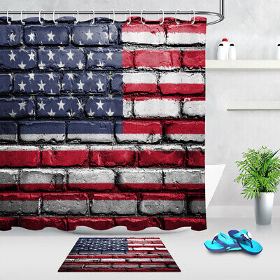 72x72/'/' Red Brick Wall Shower Curtain Bathroom Waterproof Fabric Bath Mat 6014
