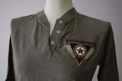 Harley-Davidson Women/'s Long Sleeve Olive Green 3 Button Henley B/&S Shirt Small