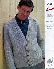 Knitting Pattern Man's DK Triple Knit Textured V Neck Pocketed Cardigan Emu 4343
