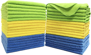 Polyte Premium Microfiber Cleaning Towel,16x16 in 36 Pack Blue,Green,Yellow