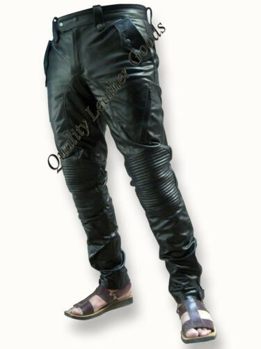 GENUINE LEATHER MENS UNIQUE STYLE PADDED KNEE LUXURY PANT JEANS TROUSERS