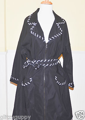 Samuel Dong Black  White Whipstitch Trim Dress Coat  NWT