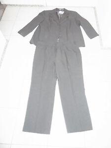 Damen-Anzug-Hosenanzug-Anzug-Kombination-Hose-Sakko-Blazer-grau-Gr-48