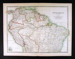 1906 johnston map south america brazil peru colombia venezuela image is loading 1906 johnston map south america brazil peru colombia gumiabroncs Gallery