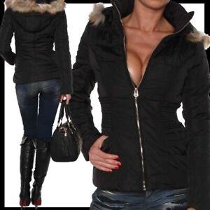 Kurz S Zu L Neu Kapuze M Xl Xxl Warme Winterjacke Jacke Details Tailliert Kunstpelzfell fy76bg