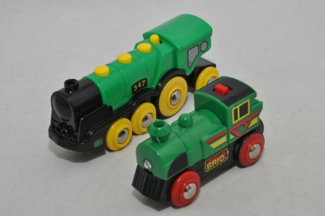 Brio BIG GREEN ACTION LOCOMOTIVE and BATTERY-OPERATED GREEN Engine (not running)