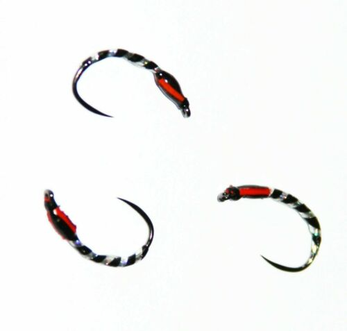 12  Holographic Buzzers Barbless Black /& Silver Trout Flies Size 10 12 14 16