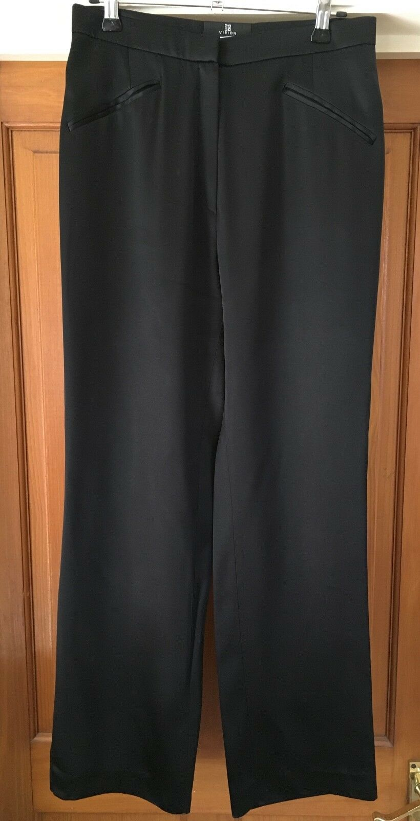 Givenchy Donna Nero in Raso Festa Pantaloni Pantaloni Taglia 40