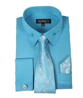 Men/'s fashion Dress Shirt With Tie/&Hanky French Cuff Links Orange Style AH619
