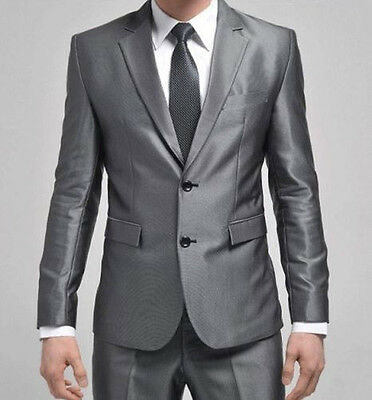 Formal Mens Slim Fit Stylish Suit/Suits two-button suit set Jacket+pants Silver