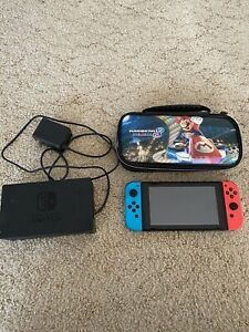 Nintendo-Switch-32GB-Gray-Console-with-Neon-Red-and-Neon-Blue-Joy-Con