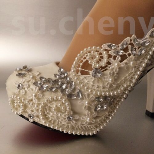 """su.cheny 3//4/""""heel white ivory lace crystal pearls Wedding bridal shoes size 5-11"""