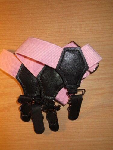 Sock garters//suspenders .PINK.. DOUBLE CLIP ON EACH LEG.