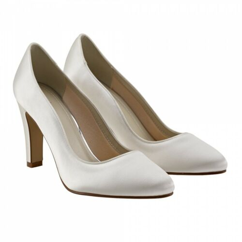 EBONY by RAINBOW CLUB Ivory Satin Wedding Bridal shoes block heels UK 3//36 BNIB