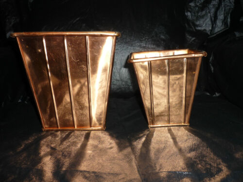 2 COPPER SQUARE SHAPE VASES SM & LG W RIB LINES GOING AROUND THE OUTSIDE IN G.C