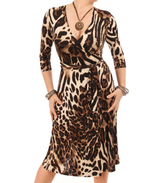 New Animal Print Wrap Dress - Knee Length