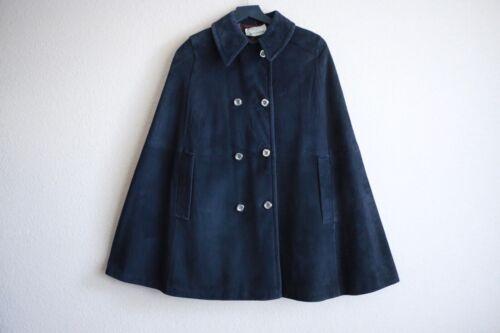 60's Vintage Navy Blue Suede Cape Coat button down