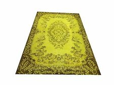 "6'7""  X 3'9""   Vintage destressed YELLOW lemon  color reform Overdyed rug carpet"